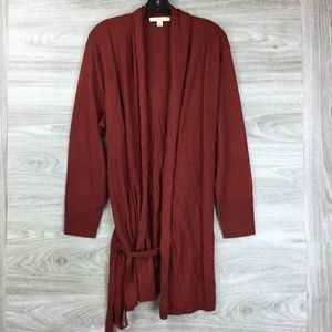 Sejour Wine Red Long Sleeve Open Front Cardigan